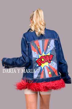 """Hand - painted denim jacket """"POW"""" with stripes of dark blue color. Hand painted in Pop Art style, decorated with detachable ostrich feathers high quality of scarlet colour and rhinestones.  #portugal #lisbon #lisboa #dariaymaria #dariamariadesign #london #popartjacket #milano #london #рисунокнаодежде #курткаспринтом"""