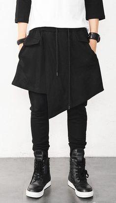 Unisex Fashion, Mens Fashion, Fashion Outfits, Man Skirt, Mein Style, Cyberpunk Fashion, Androgynous Fashion, Drop Crotch, Urban Outfits