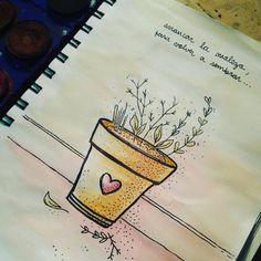 Arrancar la maleza. Sembrar de nuevo. Cuidar la flor. By Pau Minotto #pauminotto #acuarela #watercolor #sharpie #cambio #leaves #hojas #sketchbook