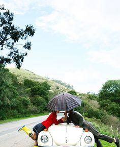 kiss & a plaid umbrella