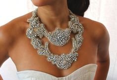 A statement jewelled necklace, perfect for the simple, bare-chested wedding gown x