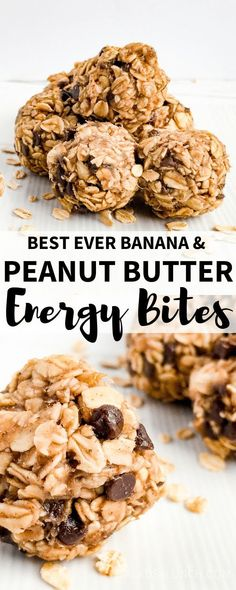 No bake peanut butter banana energy bites are soft, sweet, and the perfect little healthy snack to tide you over until your next meal! No baking required and made with just 6 healthy ingredients. Banana Energy, Oatmeal Energy Bites, Peanut Butter Energy Bites, No Bake Energy Bites, Healthy Peanut Butter, Peanut Butter Banana, Healthy Energy Bites, Protein Bites, Energy Balls