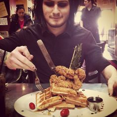 "Devin ""Ghost"" Sola-Motionless In White (Kim, apparently you are not the only one who eats chicken and waffles. I find this highly disturbing.)"