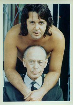"maccamcbeardy: "" Paul and his dad, 1969, photo by Linda McCartney. """