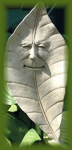 "LEAF Face WALL Garden PLAQUE Arthur Alder 12"" STONE by eEarthExchange. $47.95"