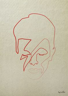 David Bowie. One line illustration by Qui be
