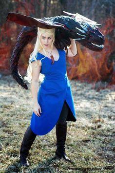 Game of Thrones Khaleesi Daenerys Targaryen and dragon cosplay
