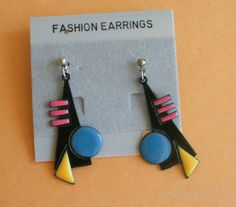 1980s GLAM Earrings...earrings. black. retro. kitsch. glam earrings. indie. urban. aztec. metal. dangly. pierced ears. 1980s glam. folk