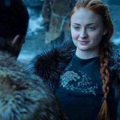 Sansa Stark wearing her newly designed House Stark wolf crest