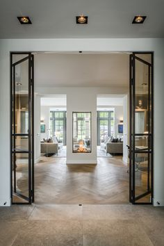 Guides to Choosing A Glass Door Design That'll Fit Your House - Haus - Double Sided Fireplace, Direct Vent Fireplace, Interior Decorating, Interior Design, Interior Modern, Interior Doors, Modern Interiors, Design Interiors, Holiday Decorating
