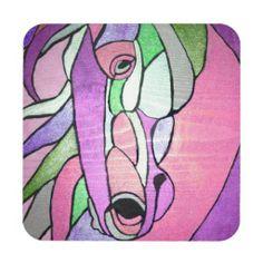 Metallic Horse in Pink Coaster Set