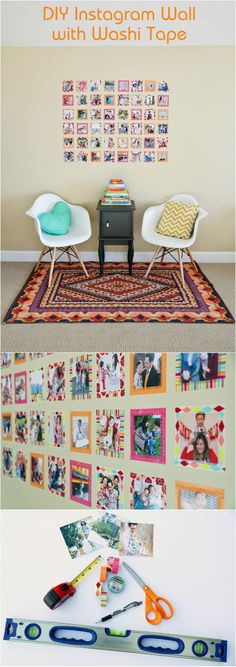 DIY Instagram Wall with Washi Tape. Learn how to create your own wall art home decor in 3 easy steps and minimal supplies.  Works great in a play room, nursery, living room or any room in your house! www.sandyalamode.com