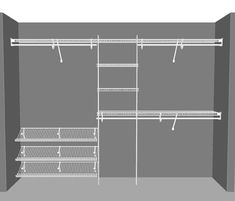 SuperSlide Reach in Closet package 10 ClosetMaid - wire shelving & wardrobe solutions. Declutter & o Wire Closet Shelving, Closet Shelves, Bedroom Closet Doors, Bedroom Closet Design, Small Closet Design, Closet Designs, Kid Closet, Closet Ideas, Front Closet