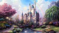 fantasy, castle, cinderellas, cinderella, wallpaper, wallpapers, tree, river, rainbow