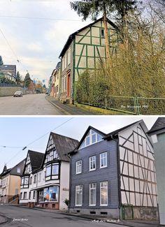 Diese beiden Häuser sind wohl gleichzeitig in gleicher Weise erbaut worden. Man sieht es am Fachwerk. Oben: Im Kreuztal 100, unten Auf der Rahm 5