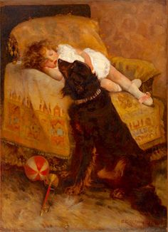 Elizabeth Strong (American painter) 1855 - 1941 Sleeping Child with Dog, 1887 Art And Illustration, Jean Anouilh, Vintage Nursery, Mid Century Art, Vintage Dog, Nose Art, Animal Paintings, Collie, Online Art