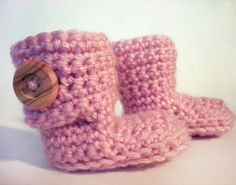 Hugg'les - Baby Girl Booties / Fall Fashion Crochet Slippers on Etsy, $8.95