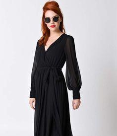 1970s Style Black Long Sleeve V-Neck Maxi Dress