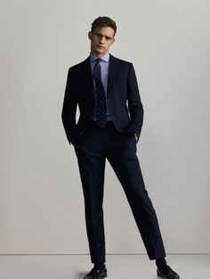 Fall Winter 2017 Men´s SLIM FIT NAVY BLUE WORSTED WOOL TROUSERS at Massimo Dutti for 69.95. Effortless elegance!