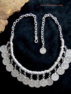 Turkish Tribal Jewelry - Silver Plated Pewter Coin Necklace