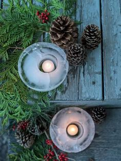 Use winter's frosty temps to your advantage when decorating your home's outdoors for the holidays. These ice lanterns are pretty, festive and just require water, plastic containers and a chill in the air.