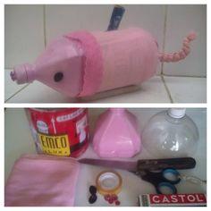Kreasi Kaleng Kreatif EMCO kiriman Atik Surya Ningsih  Judul : Piggy Bank Kali ini kaleng EMCO saya kreasikan dgn brng2 yg ada dirumah seperti botol air mineral,kain dan manik2 hasilnya jadilah celengan cantik yg saya beri nama Piggy Bank #KalengKreatifEMCO