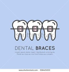 Isolated Vector Style Illustration Logo Badge or Dental Tooth Braces Installation Process, Aesthetics, Orthodontist