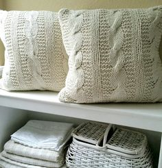 Pair of Cable Knit Throw Pillows by FARMHOUSE1711 on Etsy