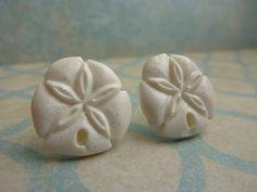 White Glitter Sand Dollar Stud Earrings by KristalsKreations20, $6.00