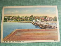 Vintage Postcard - Unused Unposted - Bird's-Eye View of Petoskey, Michigan - Antique Linen Postcard by AVintageLifeByNikki on Etsy