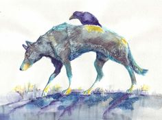 Raven Travels with Wolf  print of my original by QuickPony on Etsy, $18.00