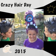 Purple Minion Monster and Spider Web with Spiders for Crazy Hair Day at school