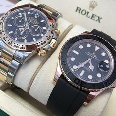 On land or on sea? Daytona or Yacht-Master, you decide! Gents Watches, Rolex Watches, Watches For Men, Unique Watches, Dream Watches, Luxury Watches, Expensive Watches, Beautiful Watches, Jewelry Gifts