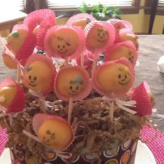 Cake pops for baby shower.  A LOT of work!  But so cute-