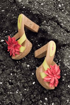 "the dramatic and lush Loletta platform sandal, by Born Crown #tropical #shoes (also comes in a neutral ""wood"" color)"