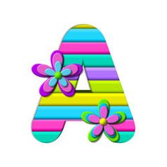 """A, in the alphabet set """"PopColor"""" has layered flowers which decorate the multi-colored, striped alphabet letter. Flower Alphabet, Alphabet Art, Alphabet And Numbers, Alphabet Templates, Monogram Alphabet, Potpourri, Crock, Graffiti, Layers"""