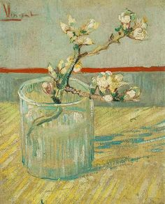 Blossoming Almond Branch in a Glass | Vincent Van Gogh | oil painting #vangoghpaintings