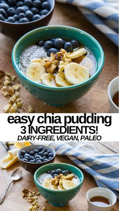 Easy Chia Seed Pudding - only 3 ingredients and 3 steps! Vegan, paleo, gluten-free Healthy Dessert Recipes, Whole Food Recipes, Delicious Desserts, Trifle Pudding, Homemade Snickers, Easy No Bake Desserts, Star Food, Pudding Recipes, Cake Recipes