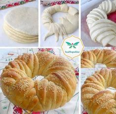 This Delicious Bread Wreath will be Wonderful for a High Tea Bread And Pastries, Tea Recipes, Baking Recipes, Recipes Dinner, Healthy Recipes, Pan Comido, Cream Cheese Coffee Cake, Chocolate Zucchini Bread, Bread Shaping