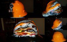 CUstom hard hat finished.  #skull #train all aboard! #zimmerdesignz #inspirepaint