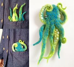 Most adorable felted octopus!