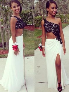 2017 Sexy One Shoulder Prom Dress,Lace Appliques Evening Dress,Elegant 2 Pieces Prom Dress,Evening Dress with Side Split,Chiffon Prom Dress
