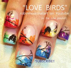 Nail-art by Robin Moses: love birds, wedding marble nails, wedding nails, love bird nails, rainbow bird nail, tree of life nail, white swirl nail, no water marbling, marble nails no water, birds in trees, painting birds, lovecats the cure, celebrity wedding nails, ricci nails, how to do nails, nail pics, huge nail gallery,