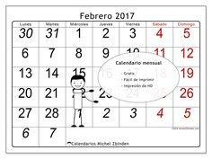 """Calendario """"Oseus (L)"""" febrero 2017 para imprimir"""