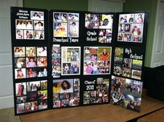 Fun and Cool Graduation Party Ideas for High School Middle School. Cool Graduation Party Ideas for High School Middle School. School graduation parties are identical with prom night. But if the prom event can't be hel. Graduation Picture Boards, Graduation Photo Displays, Graduation Open Houses, Graduation Decorations, High School Graduation, Graduation Pictures, Grad Party Centerpieces, Cap Decorations, Graduation Party Planning