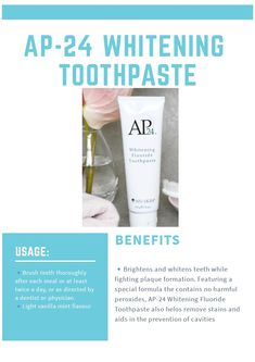 Ap 24 Whitening Toothpaste, Whitening Fluoride Toothpaste, Nu Skin, Healthy Skin Care, White Teeth, Color Street, Lip Gloss, Skincare, Spa