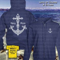 MY FAVORITE!!! Doodle Anchor Navy Mom zip up sweatshirts hoodies designed by NavyMomShirts.com