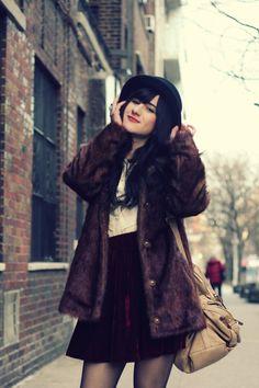 Need this velvet skirt and fur jacket.