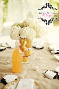 Oranges and hydrangeas simple summer wedding decor from Andie Freeman Photography Summer Wedding Decorations, Table Decorations, Barn Wedding Inspiration, Event Services, Vase Centerpieces, Vintage China, Event Design, Wedding Details, Real Weddings