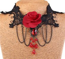 Sby0921 Bohemia 2015 declaração de colares Colar Femme gargantilha gola de renda Rose flor Colar curto para mulheres Gipsy cristal(China (Mainland))